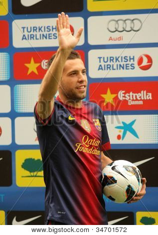 BARCELONA - JULY, 5: Barcelona's new signing Jordi Alba during his presentation at the Camp Nou stadium on July 5, 2012 in Barcelona, Spain