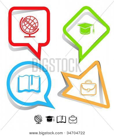 Education icon set. Graduation cap, book, briefcase, globe. Paper stickers. Raster illustration.