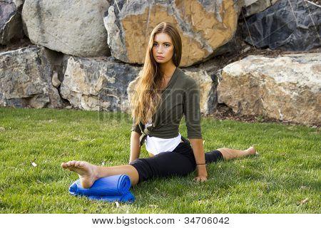 Girl Front Over Split in Park 2