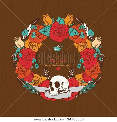 Frame In A Retro Style With Skulls And Roses