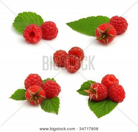 Set Of Red Ripe Raspberry Heaps