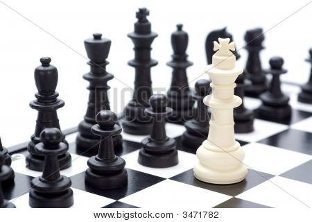Chess Pieces On A Board Horizontal Image