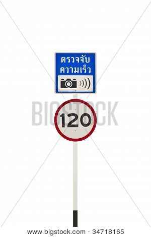 Speed Limit And Speed Camera Signpost