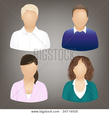 Set Of Business People Icons, Isolated On Grey, Vector Illustration