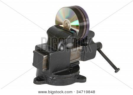 Cd Disks In Vise