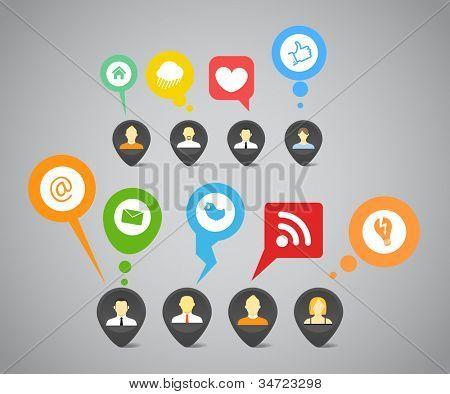 Social media network abstract speech bubbles