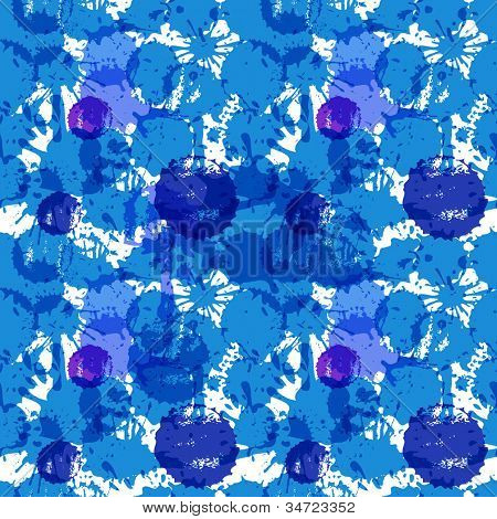 Blue ink blots seamless background