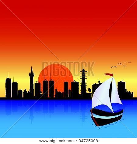 City With Boat Illustration