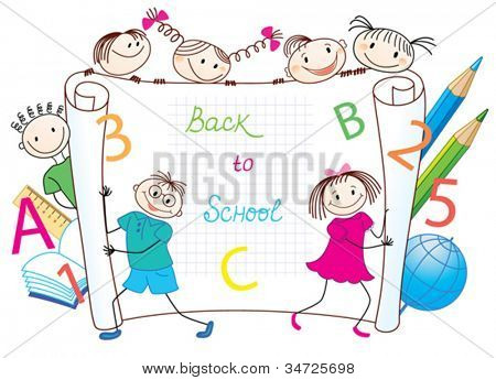 Back to School. Group of funny children.