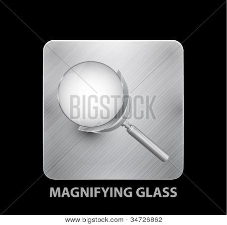Vector app icon. Metal button and magnifying glass