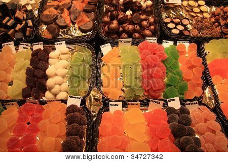 Candied Fruit And Chocolate At The Market