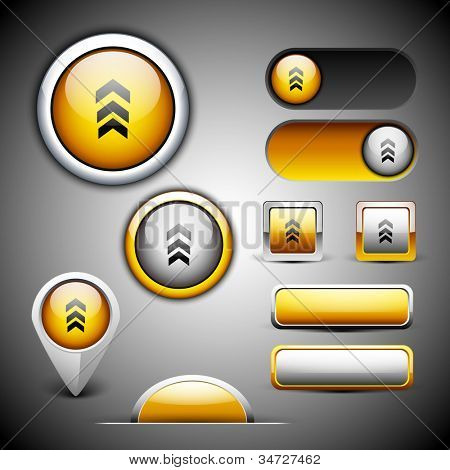 Abstract 3D glossy icon sets in yellow color with grey color combination, isolated on grey with text space.EPS 10. can be use as icons, element, banner or background.