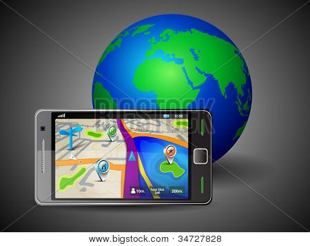 Navigation map, GPS screen on smart cell phone with world globe on grey background. EPS 10.