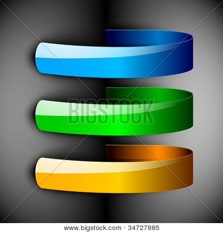 Abstract 3D glossy ribbons in blue, green and yellow color isolated on grey with text space.EPS 10. can be use as icons, element, banner or background.