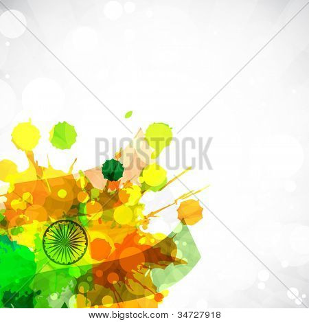 Abstract background with Indian Flag color splash. EPS 10.