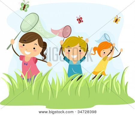 Illustration Featuring Kids Hunting Butterflies