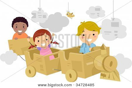 Illustration Featuring Kids Riding a Makeshift Train