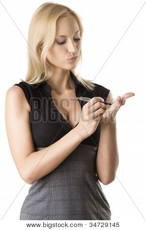 Blonde Business Woman She Write On Her Hand