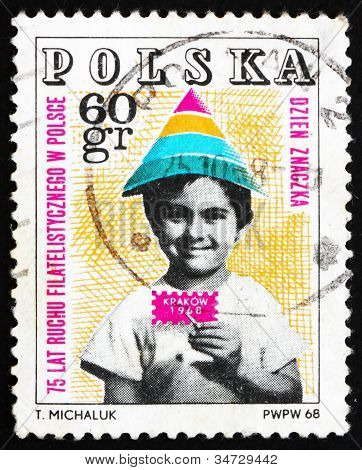 Briefmarke 1968 Polen Kind hält symbolische Stempel