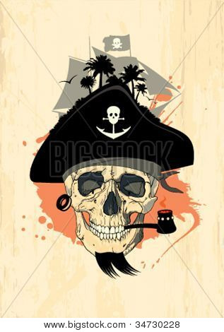 Pirate design template with ghost skull.