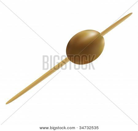 Olive, pinned on a cocktail skewer