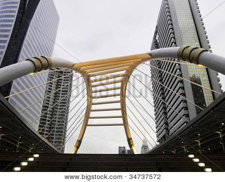 Skywalk With Modern Buildings In Business Zone