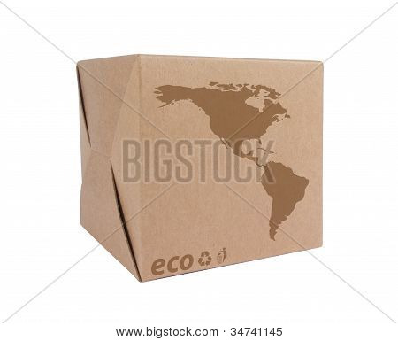 Cardboard Box With Icon Ecological Map Usa