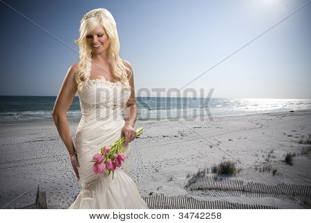 Bride with Beach Background