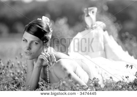 Beautiful Bride Lying In Field