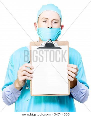 Doctor Holding Blank Clipboard