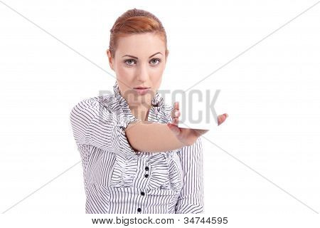 Beautiful Young Girl Is Holding A Blank Card In Hand Isolated
