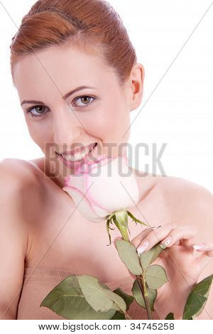 Beautiful Young Woman Holding Pink Rose Isolated