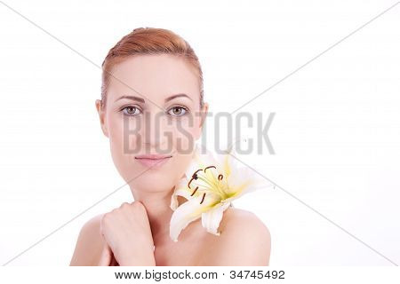 Beautiful Natural Woman Face With Flower Isolated