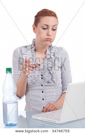 Young Business Woman On Computer With Snack Isolated