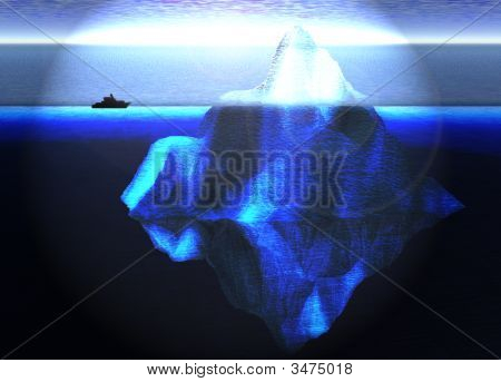 Floating Iceberg In The Open Ocean With Small Boat Nearby Illustration