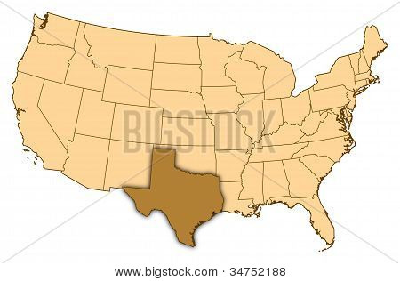 Map Of United States, Texas Highlighted