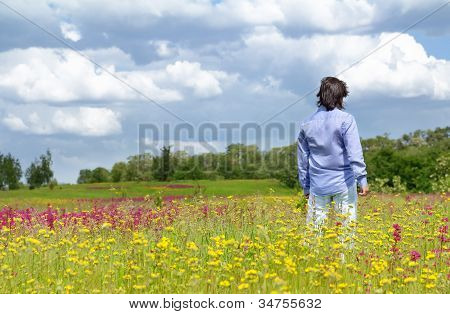 Young Man Enjoying The Nature
