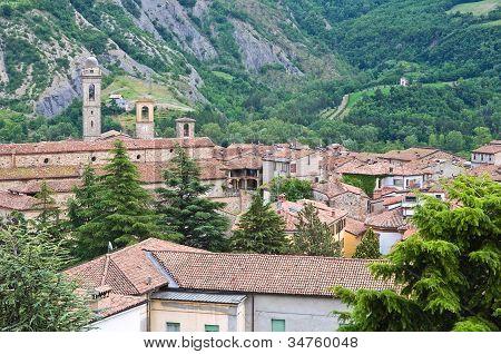 Panoramic view of Bobbio. Emilia-Romagna. Italy.