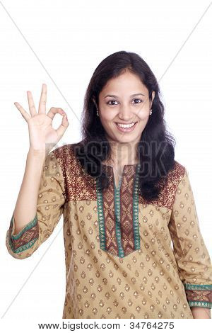 Beautiful Smiling Young Woman With Ok Sign