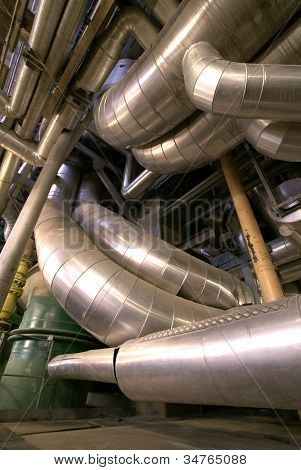Equipment, Cables And Piping As Found Inside Of  Industrial Power Plant