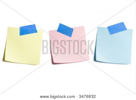 Three Sticky Notes On White