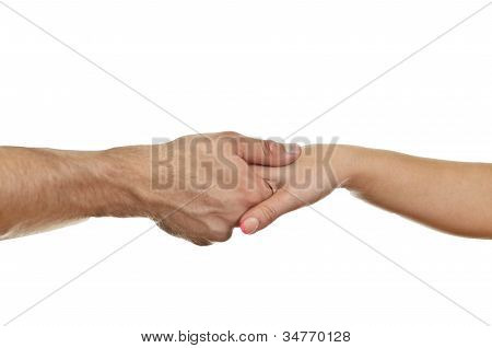Man Delicately Shaking Woman's Hand. Isolated On White.