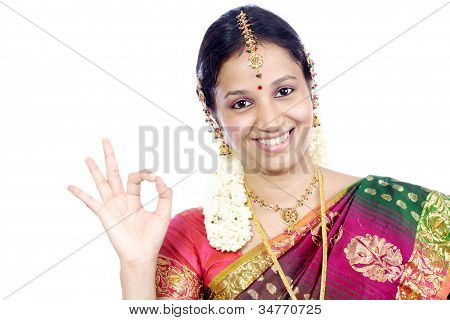Traditional Indian Woman With Ok Sign