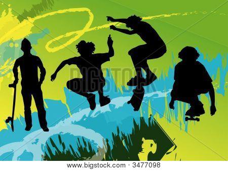 Boys With Skateboard