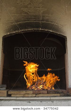 Traditional bbq fireplace