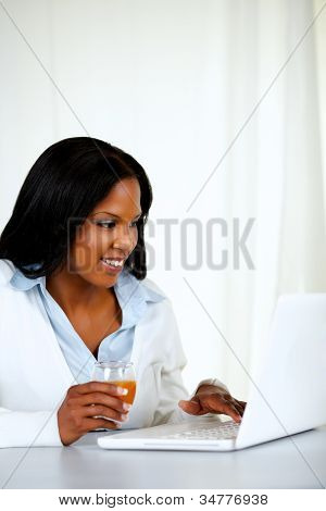 Pretty  Woman Smiling And Reading Something