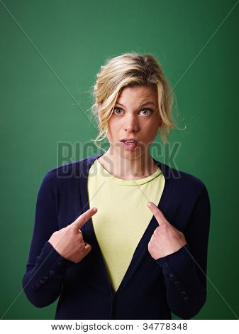 Woman Pointing At Herself, Studio Shot