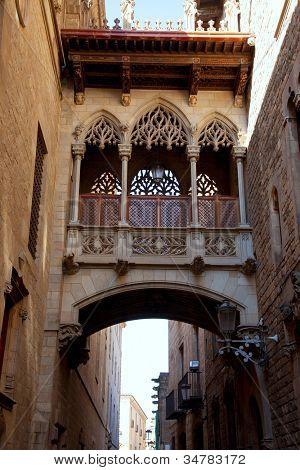 Barcelona Palau generalitat arch corridor in gothic Barrio