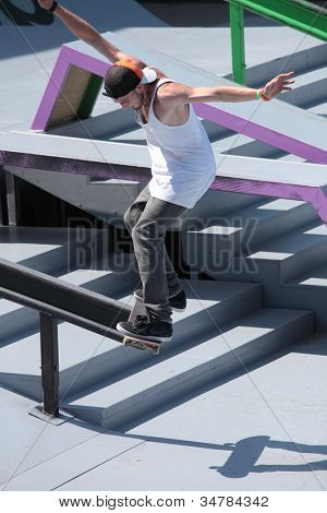 MOSCOW, RUSSIA - JULY 8: Alexey Bobrov in skateboarding competition during Adrenalin Games in Moscow, Russia on July 8, 2012