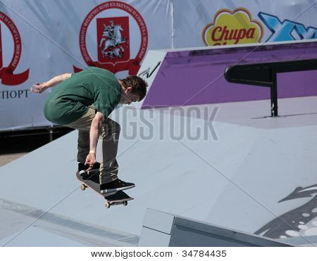 MOSCOW, RUSSIA - JULY 8: Yegor Golubev, Russia, in skateboarding competition during Adrenalin Games in Moscow, Russia on July 8, 2012